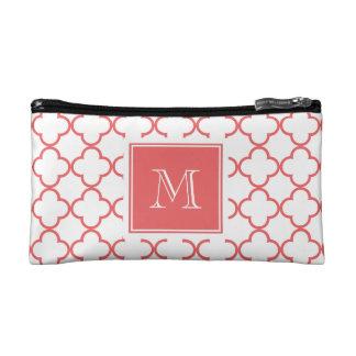 Coral White Quatrefoil | Your Monogram Cosmetic Bag