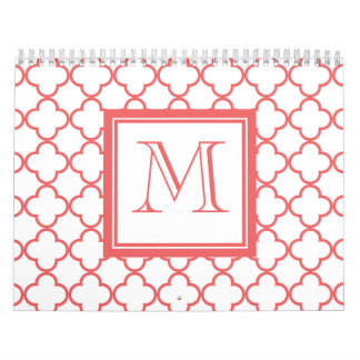 Coral White Quatrefoil | Your Monogram Calendar