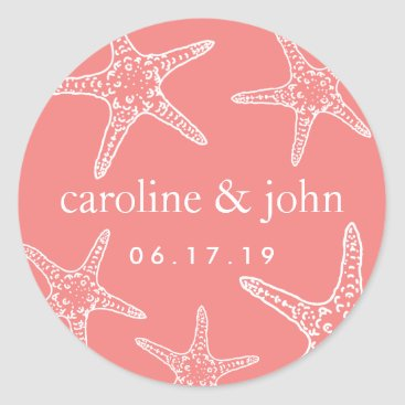 Beach Themed Coral & White Starfish Personalized Wedding Classic Round Sticker