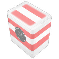 Coral White Stripes Pattern, Charcoal Monogram