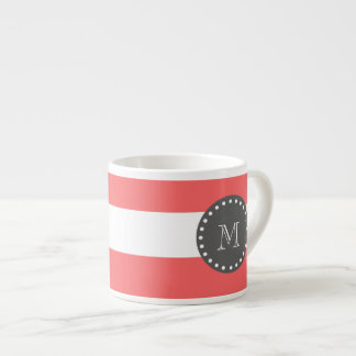 Coral White Stripes Pattern, Charcoal Monogram Espresso Cup