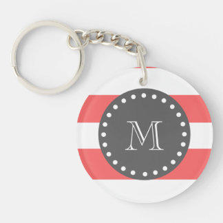 Coral White Stripes Pattern, Charcoal Monogram Keychain