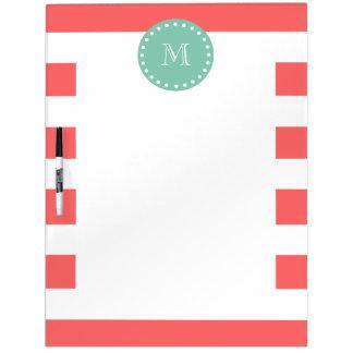 Coral White Stripes Pattern, Mint Green Monogram Dry Erase White Board