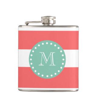 Coral White Stripes Pattern, Mint Green Monogram Flask