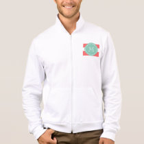 Coral White Stripes Pattern, Mint Green Monogram Jacket