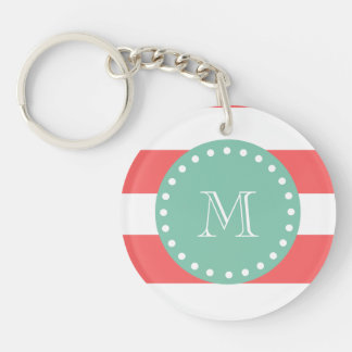 Coral White Stripes Pattern, Mint Green Monogram Keychain