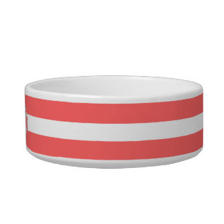 Coral | White Stripes Pattern Monogram Cat Bowl