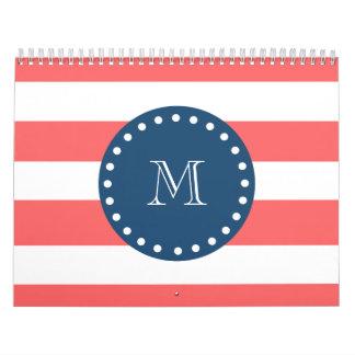 Coral White Stripes Pattern, Navy Blue Monogram Calendar