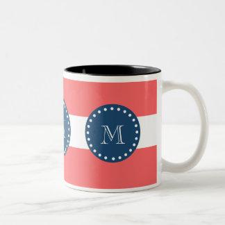 Coral White Stripes Pattern, Navy Blue Monogram Two-Tone Coffee Mug