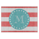 Coral White Stripes Pattern, Teal Monogram Cutting Board