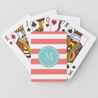 Coral White Stripes Pattern, Teal Monogram Playing Cards