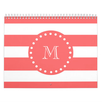 Coral White Stripes Pattern, Your Monogram Calendar