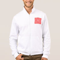 Coral White Stripes Pattern, Your Monogram Jacket