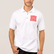 Coral White Stripes Pattern, Your Monogram Polo Shirt