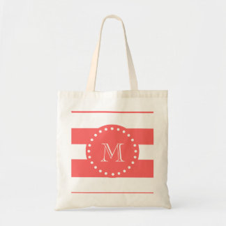 Coral White Stripes Pattern, Your Monogram Tote Bag
