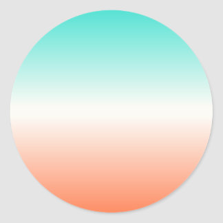 Coral White Turquoise Ombre Classic Round Sticker