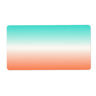 Coral White Turquoise Ombre Label