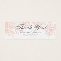 Coral White Vintage Floral Wedding Favor Tags at Zazzle