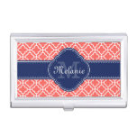 Coral Wht Moroccan Pattern Navy Monogram Business Card Case
