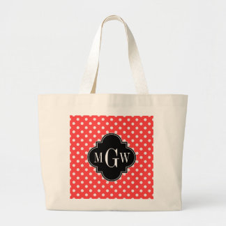 Coral Wht Polka Dots Black Quatrefoil 3 Monogram Jumbo Tote Bag