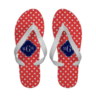 Coral Wht Polka Dots Navy Quatrefoil 3 Monogram Sandals