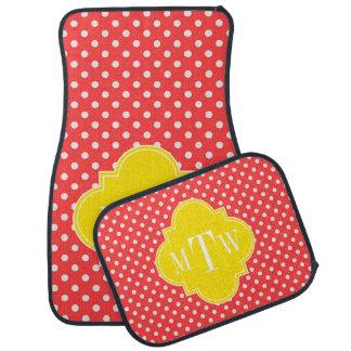 Coral Wht Polka Dots Yellow Quatrefoil 3 Monogram Car Mat