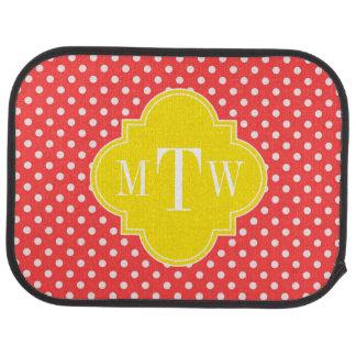 Coral Wht Polka Dots Yellow Quatrefoil 3 Monogram Floor Mat