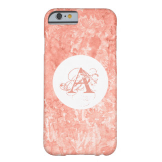 Coral wink watercolor floral monogram barely there iPhone 6 case