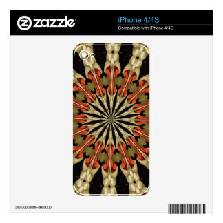 Coral With Coffee and Cream Mandala Decals For The iPhone 4