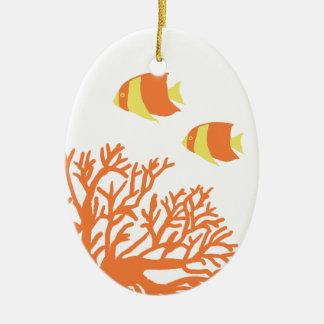 Coral y Angelfish tropicales anaranjados y amarill Ornamentos Para Reyes Magos