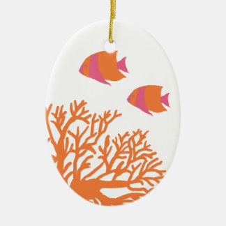 Coral y Angelfish tropicales anaranjados y rosados Ornamento De Reyes Magos