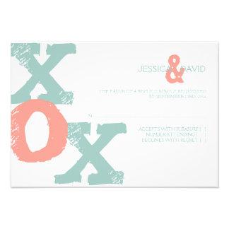 Coral y menta XOX que casan RSVP Invitacion Personal