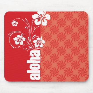 Coral y remolino rojo; Hawaiana Tapetes De Raton