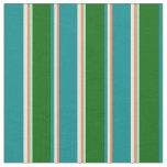 [ Thumbnail: Coral, Yellow, Dark Cyan, Dark Green & Aquamarine Fabric ]