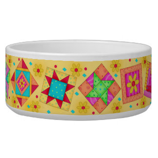 Coral Yellow Quilt Block Dog Food Bowl