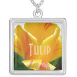 Coral Yellow Tulip Personalized Necklace