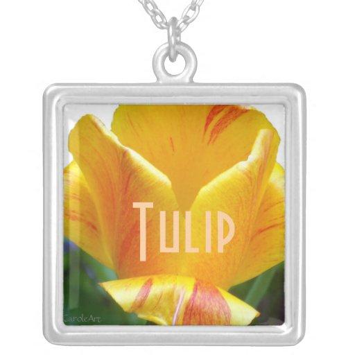 Coral Yellow Tulip Square Pendant Necklace