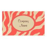 Coral Zebra Print Business Card