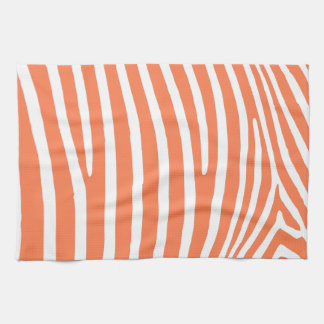Coral Zebra Stripes Kitchen Towel