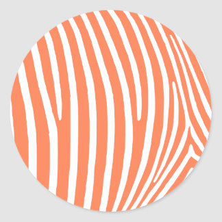 Coral Zebra Stripes Round Sticker