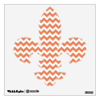 Coral Zigzag Fleur De Lis Wall Decal