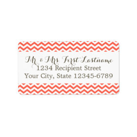 Coral Zigzag Personalized Address Labels