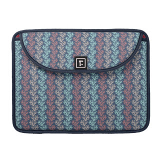 Coral Zigzag Taupe, Aqua, Dusty Rose on Navy MacBook Pro Sleeve