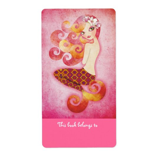 Coraleen Mermaid Bookplate Labels