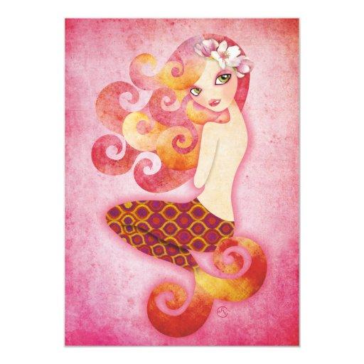Coraleen, Mermaid in Pink Invitations