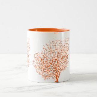 Corales del naranja de PixDezines Taza De Dos Tonos