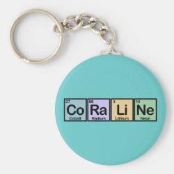 Basic Button Keychain with Coraline made of Elements design