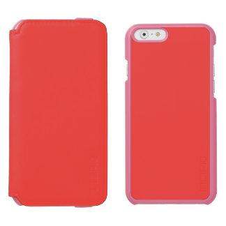 ~ CORALINO (de un color rojizo-rosado rico sólido) Funda Billetera Para iPhone 6 Watson