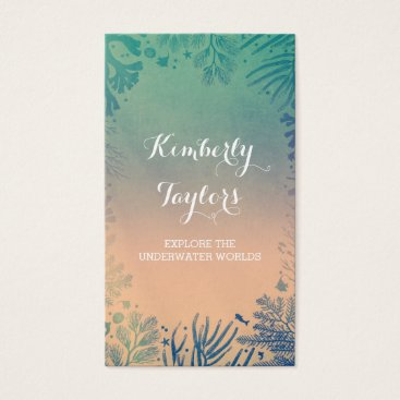 Beach Themed Corals and Tropical Ocean Treasures Wreath Business Card