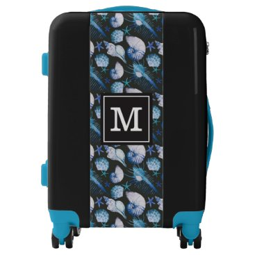 Beach Themed Corals With Shells Pattern| Add Your Initial Luggage